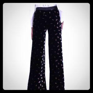 NWT! Black Velvet Pants with Silver Leaf Pattern